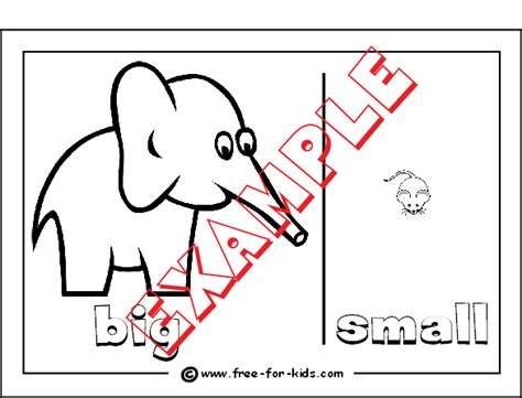 opposites colouring pages for pre school children