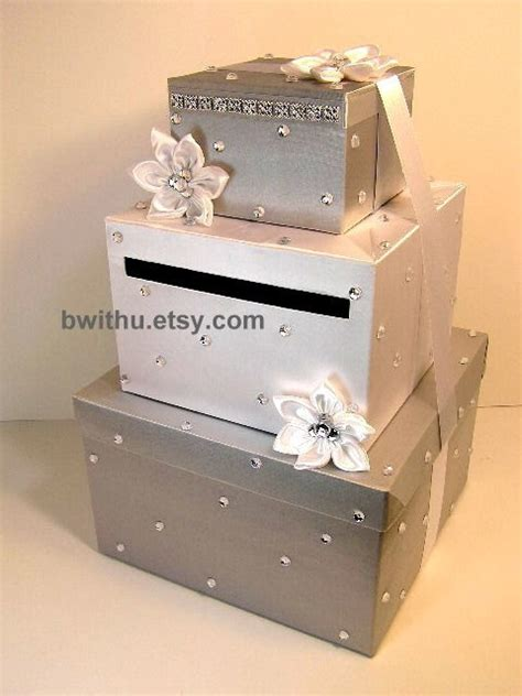 Gift Box Card And Money Box - silver and white wedding card box gift card box by bwithustudio