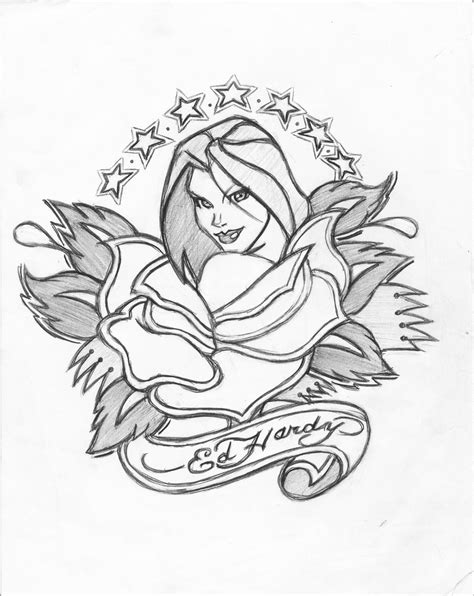 ed hardy coloring page california rose ed hardy by icemaxx1 on deviantart