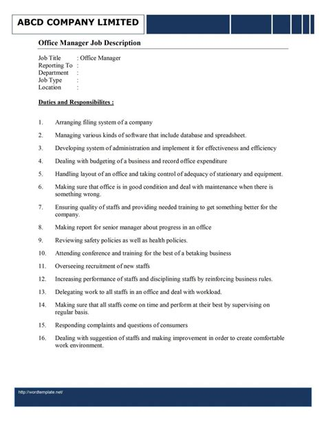office manager description template free microsoft word templates