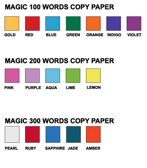 magic 100 words magic words copy paper 80gsm harleys the educational