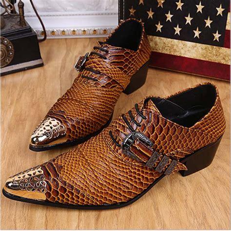 Sepatu Sneaker Snake Leather Semprem 01 7 high quality brown snakeskin pattern dress shoes lace up high heel shoes oxfords