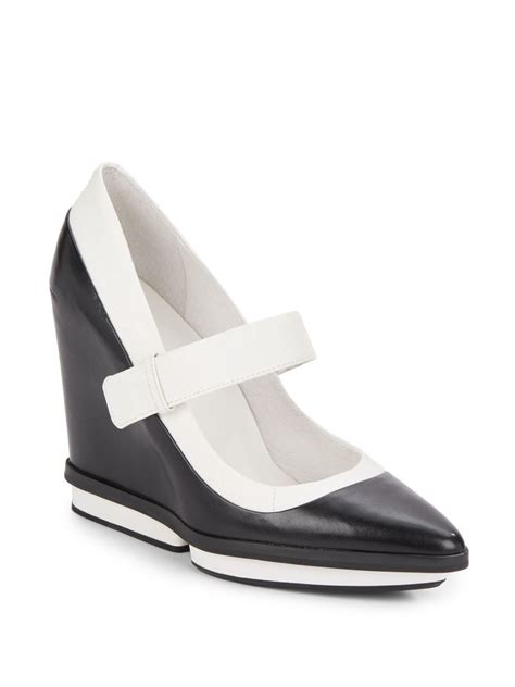 Wedges F 146 White kenneth cole sabrina leather wedges in black lyst