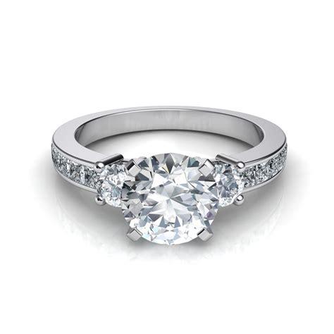 3 princess cut channel set engagement ring
