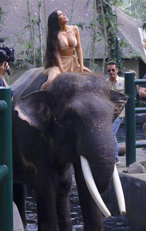 kim kardashian and elephant photos kim kardashian en bikini sur un 233 l 233 phant 224 bali