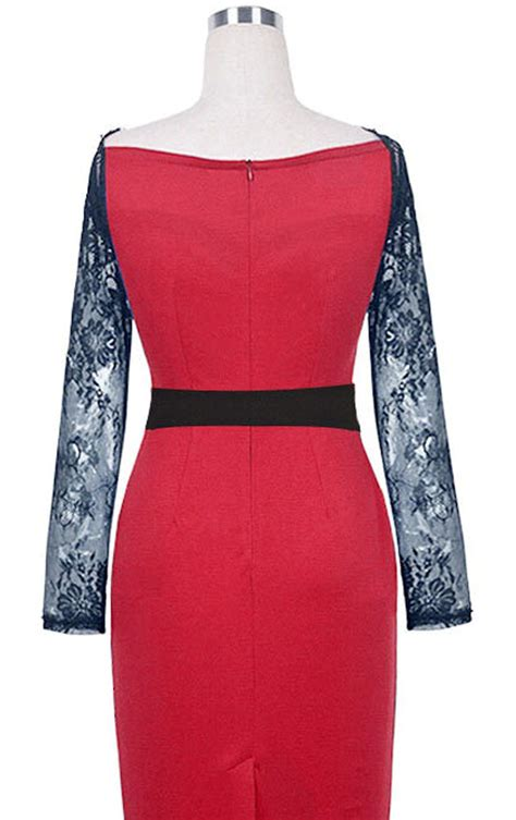 design dress with sleeves jhonpeter women lace design neck full sleeves dress red