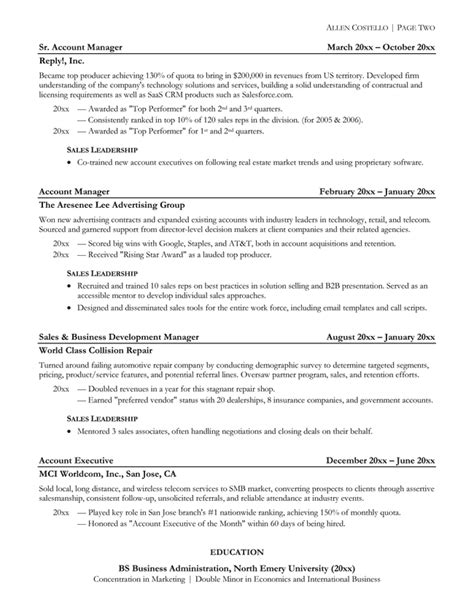 Sample Resume For Sales Representative Position