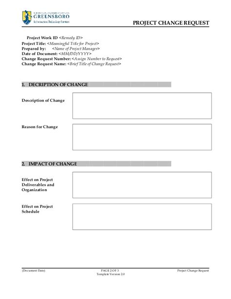 Project Change Request Template V2 0 Request For Template Doc