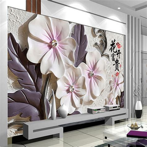 Wall Paperwallstickerphoto Wall Vue aliexpress buy photo wallpaper lotus modern minimalist living room tv wall wallpaper
