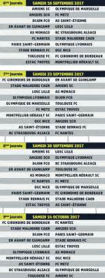 Calendrier Ligue 1 Psg Calendrier Ligue 1 Saison 2017 2018 Dates Et Horaires