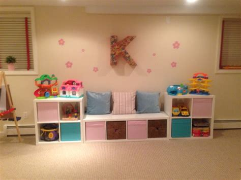 ikea playroom seating and storage with the ikea kallax shelves for