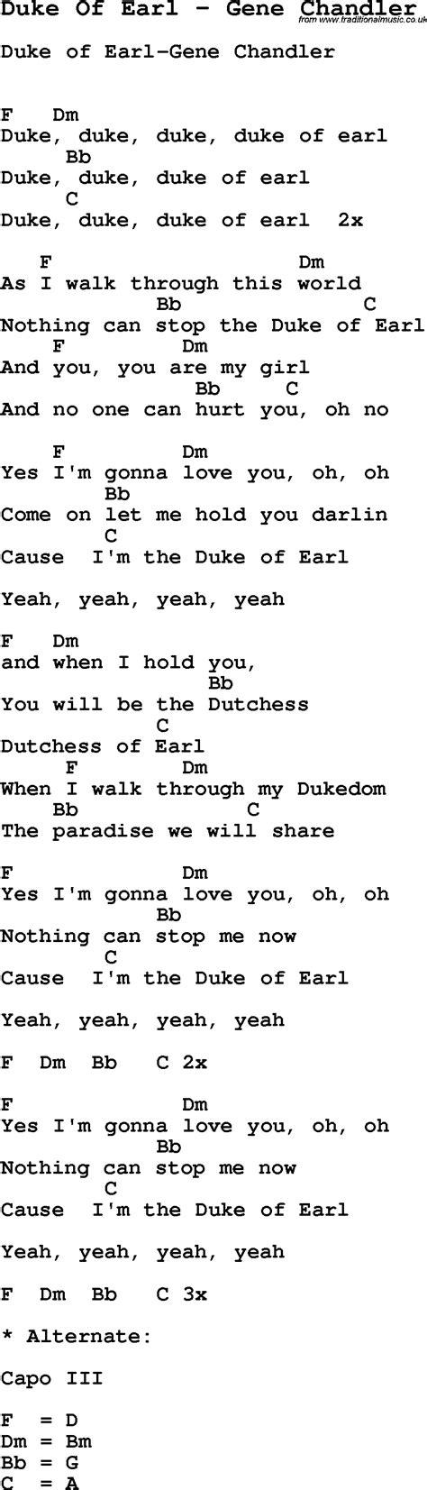 s day lyrics earle song duke of earl by gene chandler song lyric for vocal