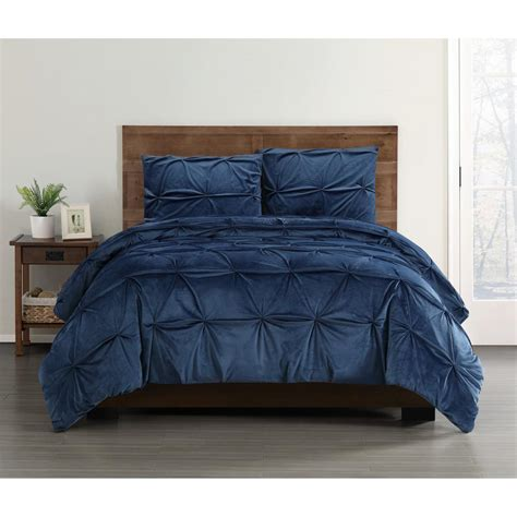 soft everyday pleated velvet navy king comforter set
