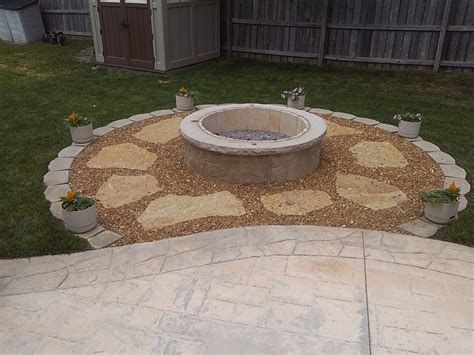 sted concrete patio with pit enjoy the winter from your backyard pits are great