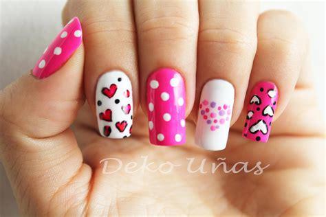imagenes d uñas pintadas decoracion de u 241 as corazones puntos heart dots nail