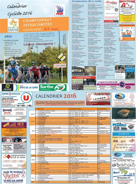 Calendrier Cycliste Actualit 233 Calendrier Cycliste Fsgt Sarthe Route 2016