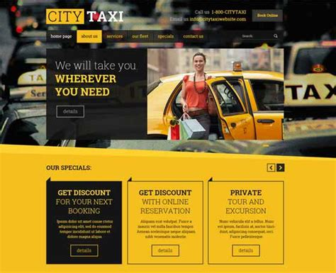155 Bootstrap Templates Themes Gridgum Taxi Company Website Template