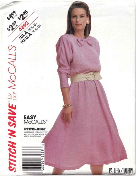 Mccall Butterfly Sleeve Dress by Mccall S Sewing Pattern 4392 Misses Size 8 12 Easy