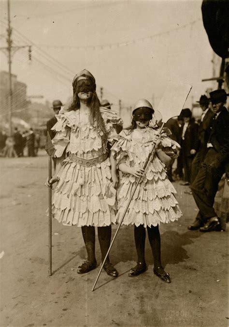 vintage mardi gras children wearing mardi gras costumes in new orleans