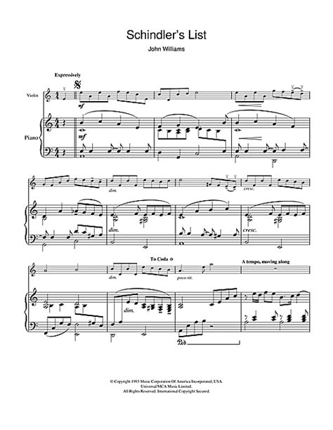 theme songs list theme from schindler s list sheet music by john williams