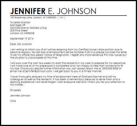 Resignation Letter Health Care cna resignation letter resignation letters livecareer