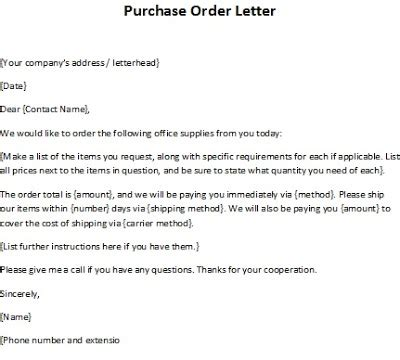 purchase order letter template purchase order resume