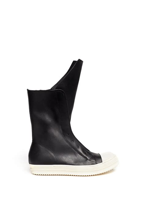 leather sneaker boots rick owens ramones leather sneaker boots in black lyst