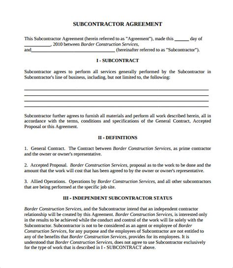 8 Subcontractor Contract Templates To Download For Free Sle Templates Sub Contract Template