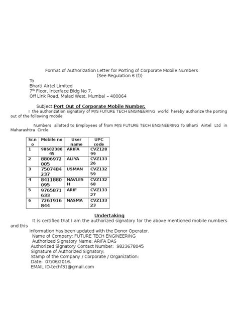 authorization letter of signatory format of authorization letter for porting of corporate