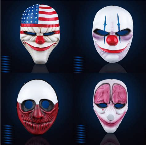 Topeng Payday Mask Payday 1 payday 2 mask the heist dallas wolf chains hoxton horror chainsaw clown mask