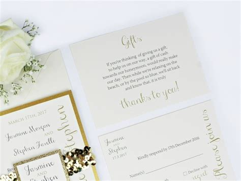 Wedding Invitations Glitter by Glitter Wedding Invitation Luxe Gold Storey Weddings