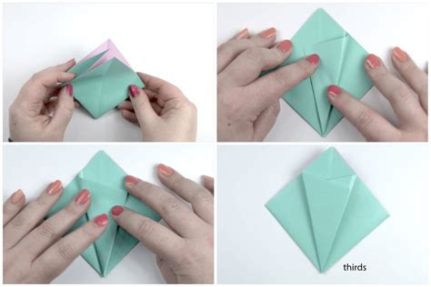 Paper Folding Steps - how to make an easy origami flower