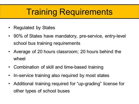 service certification requirements school driver ppt