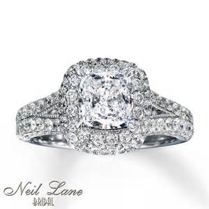 Cushion Cut Neil Neil Bridal Ring 2 7 8 Ct Tw Diamonds 14k White