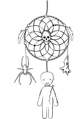 halloween dreamcatcher with voodoo doll and spider