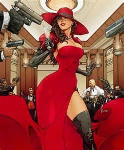 Carmen sandiego red dress madame mi gun wallpaper desktop