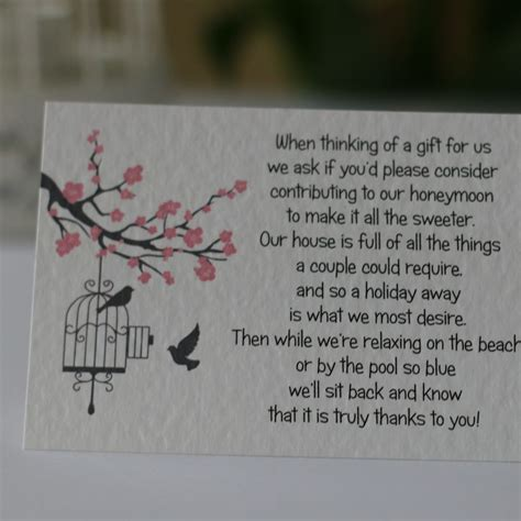 Wedding Gift Of Money by Blossom Wedding Gift Poem Cards Money Gift Honeymoon