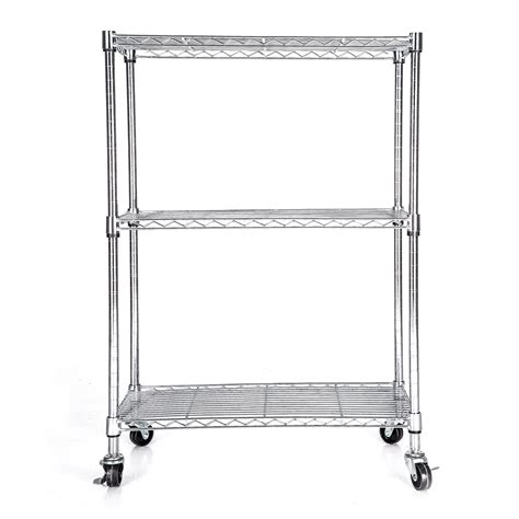 Wire Shelf Wheels by 3 Tier Wire 32 Quot X24 Quot X12 Quot Chrome Shelving Rack Cart Unit W