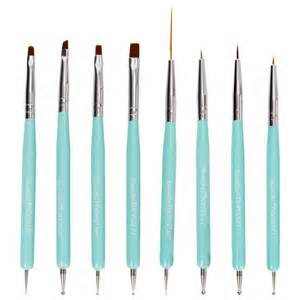 Nail Brushes And Tools turquoise 8pc dual sided nail brush and dotting