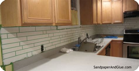 faux kitchen backsplash diy faux tile backsplash marchetti sandpaper glue a home and lifestyle