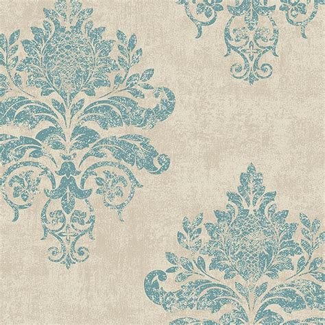 Seaside Home Decor by G34155 Medallion Damask Wallpaper Discount Wallcovering