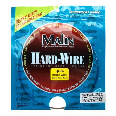 Ft Leader 1 malin size 5 42 ft wire leader academy