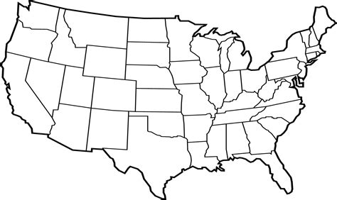 usa state map blank united states clipart continental pencil and in color