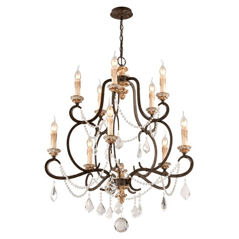 Troy Bordeaux Parisian Bronze 10 Light Medium Chandelier W Distressed Chandeliers