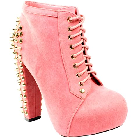 pink high heeled boots womens pink suede high heel platform ankle boots lace up