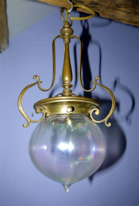 arts and crafts irridescent brass ceiling light c1910