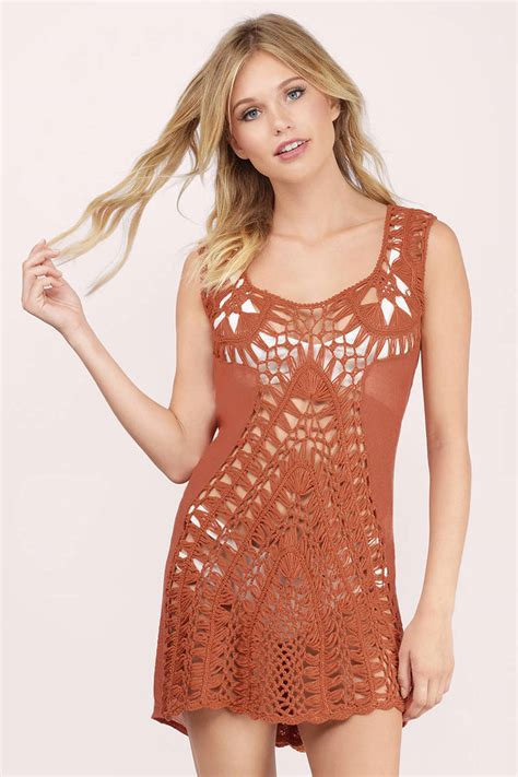orange dress crochet cover up pool dress day
