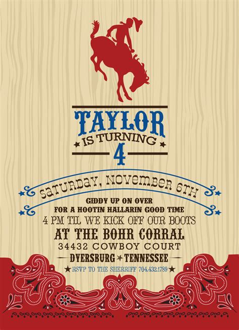 Cowboy Invitation Template Invitation Template Themed Invitations Free Templates