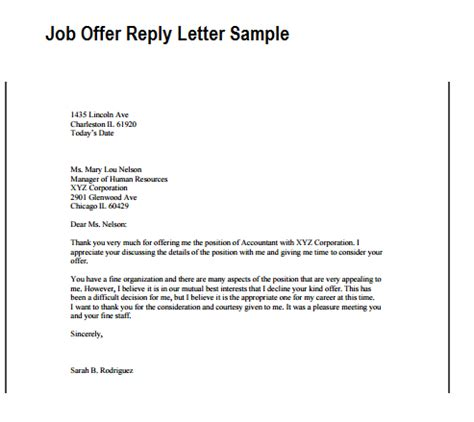 offer reply letter writing professional letters