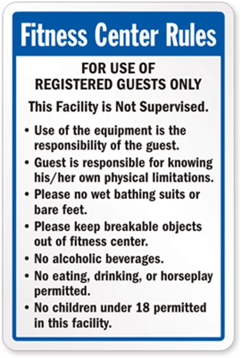 safety in the weight room fitness center sign fitness center sign sku k 4092